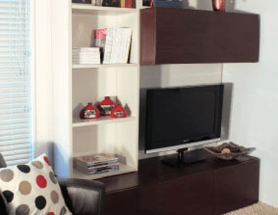 Media cabinet and shelves in dark brown with space for tv and other display items